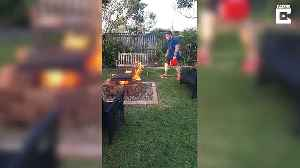 Shocking moment man accidentally sets fire to mum's garden trying to cook sausages [Video]