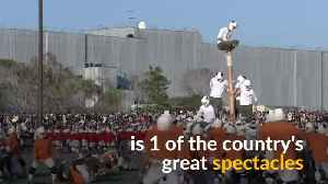 Military cadets 'topple the pole' in Japan's wildest game [Video]