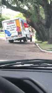 Moving Truck Stuck in a Tree [Video]