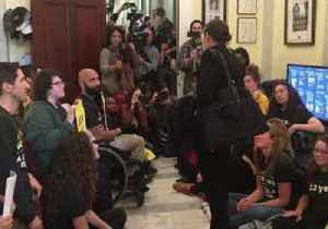 Alexandria Ocasio-Cortez Arrives at Sit-In at Pelosi Office [Video]