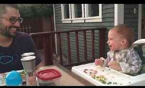 Baby Boy Laughs At Dad Pretending to be Dog [Video]