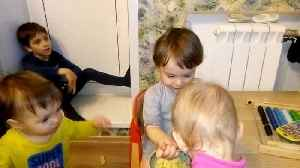 Funny baby feeds brother, sister and mother. [Video]
