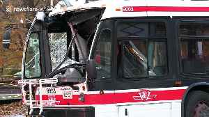 Toronto utility worker has close call cutting power lines after bus crash [Video]