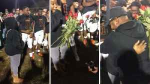 Coach 'scored' the love of his life after�proposing on pitch [Video]