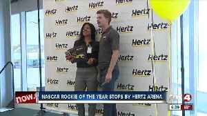 NASCAR rookie of the year stops by Hertz headquarters [Video]
