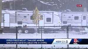 Pipes freezing in trailers where gas disaster evacuees are staying [Video]