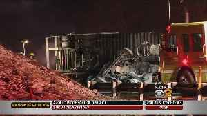 Overturned Tractor-Trailer Closes I-70 Eastbound [Video]