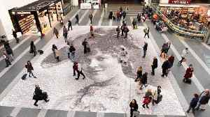 Giant suffragette portrait made of selfies wows crowds in Birmingham [Video]