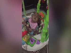 Sleepy Baby can't Keep her Eyes Open While Playing! [Video]