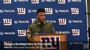 Saquon Barkley talks to the media after hus biggest day as a pro in Giants win over Tampa Bay [Video]