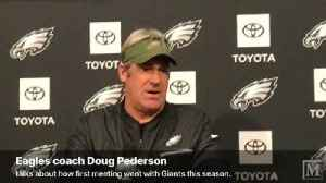 VIDEO: Eagles coach Doug Pederson revisits first meeting with Giants this season [Video]