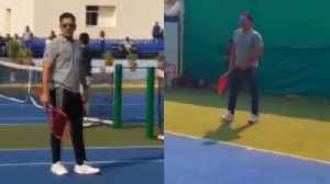 MS Dhoni tries his hand at Tennis Court, Beats his opponent at Ranchi, Watch Video | वनइंडि& [Video]