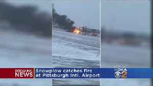 Snow Removal Equipment Catches Fire At Pittsburgh International Airport [Video]