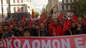 Greece: Near total public transport shutdown as workers strike over wage cuts and tax hikes [Video]