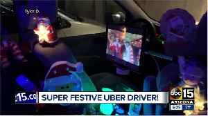 Festive Uber driver ready for the holidays! [Video]