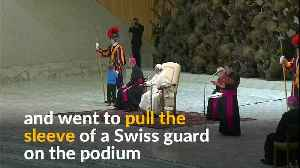 Pope chuckles as boy tugs on Swiss guard sleeve during audience [Video]