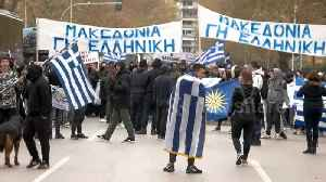 Greek students hurl rocks to protest deal with Macedonia [Video]