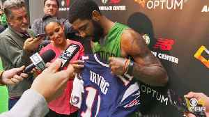 Kyrie Irving Shows Off His New Patriots Jersey [Video]