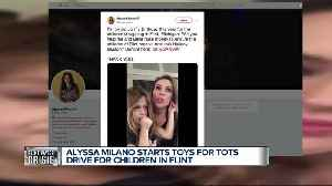 Alyssa Milano starts Toys for Tots drive for children in Flint [Video]
