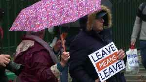 Pro- and anti-Brexit demonstrators brave rain in Westminster [Video]