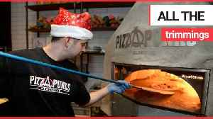 A chef has come up with a festive recipe - pizza topped with a full Christmas dinner [Video]