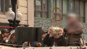 Raw video: Beer can slams into World Series trophy [Video]