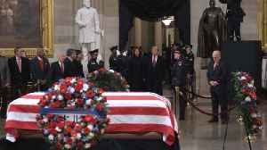 President Trump and First Lady Melania Trump Pay Respects To President George H. W. Bush [Video]