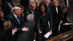 George W. Bush Slips Candy To Michelle Obama At Father's Funeral [Video]