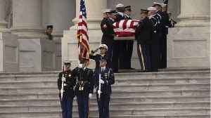 President George H.W. Bush Arrives At Burial [Video]