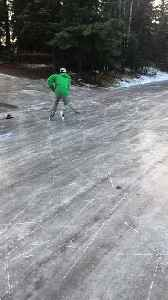 Icy Streets Create Perfect Ice Skating Rink [Video]