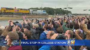 Final Stop For President George H.W. Bush In College Station After Train Ride From Houston Area [Video]