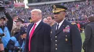 News video: Trump tosses the coin for the Army-Navy game