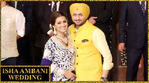 Chennai Superkings Harbhajan Singh With Wife Geeta Basra At Isha Ambani Wedding [Video]