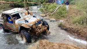 Off Road Cars Cross River In Indonesia [Video]