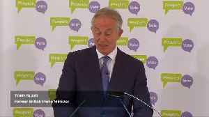 News video: Former British PM Blair says 2nd Brexit referendum over 50 percent likely