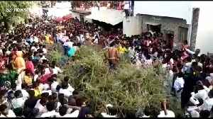 Indian villagers jump into huge pile of thorns from rooftops in bizarre ritual [Video]