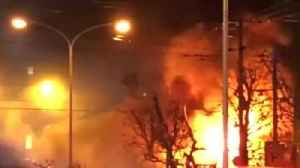 Flames billow into night sky after Sapporo blast [Video]
