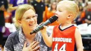 3-Year-Old Boy Sings National Anthem at College Basketball Game [Video]