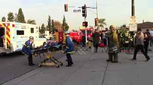 Car crashes into Los Angeles motel after driver suffers heart attack, injuring three [Video]