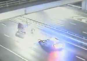 Drunk Driver on Wrong Side of Motorway Stopped in His Tracks by Police Car [Video]