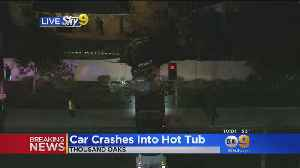 SUV Slams Into Wall, Stops On Top Of Hot Tub In Thousand Oaks [Video]