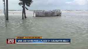 Clearwater Beach submerged during Friday's high tide [Video]