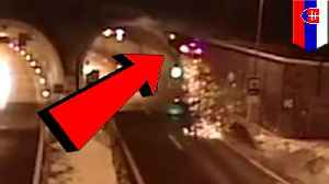 Car goes Dukes of Hazzard into roof of tunnel in Slovakia [Video]