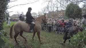 Protesters gather at Belvoir Hunt in Grantham, UK [Video]