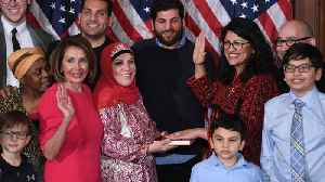 Rashida Tlaib Makes History In Congress Wearing A Traditional Palestinian Thobe While Swearing-In [Video]
