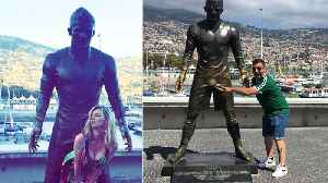 People Can't Keep Their Hands Off Cristiano Ronaldo's Giant CROTCH Statue! [Video]