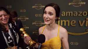 Golden Globes Winner Rachel Brosnahan Is Emotional At Amazon After Party [Video]