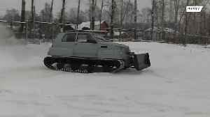 Russian pensioner transforms car into military vehicle [Video]
