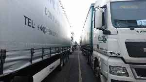 News video: 89 Lorries Drive From Disused Airport to Dover in No-Deal Brexit Traffic Test