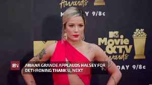 News video: Ariana Congratulates Halsey For Knocking Her Off The Top Spot